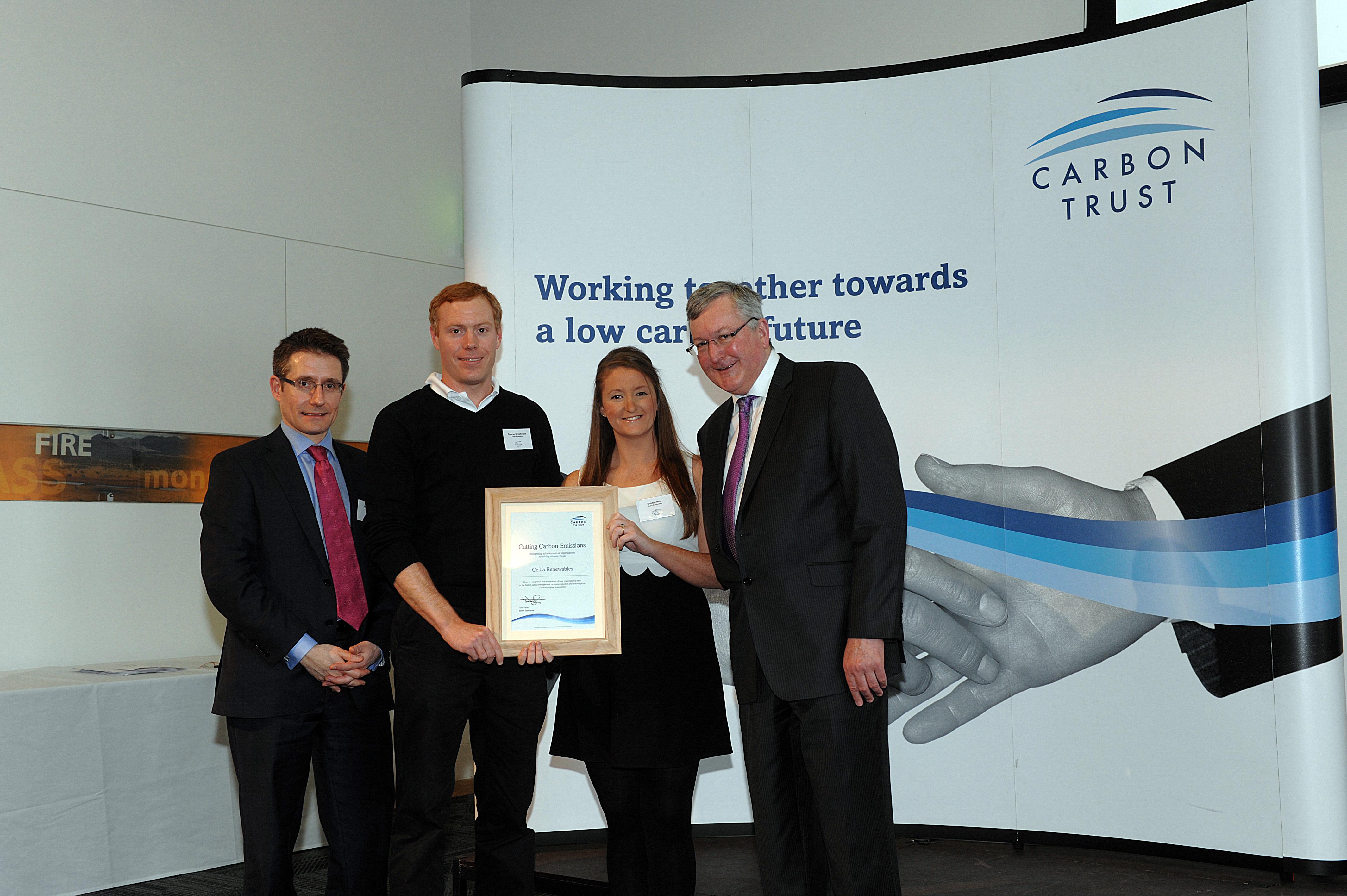 Ceiba Renewables presented Carbon Management Programme graduation plaque by Energy Minister Fergus Ewing MSP.