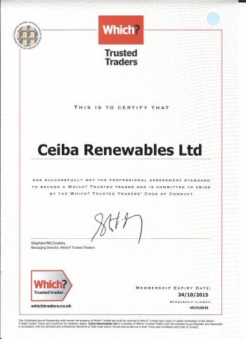 Which? Trusted Trader Certificate (Ceiba)